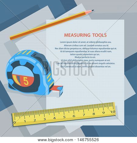 Measuring instruments measuring tape ruler pencil against sheets of paper. Blank sheet with space for text. Stock vector illustration.