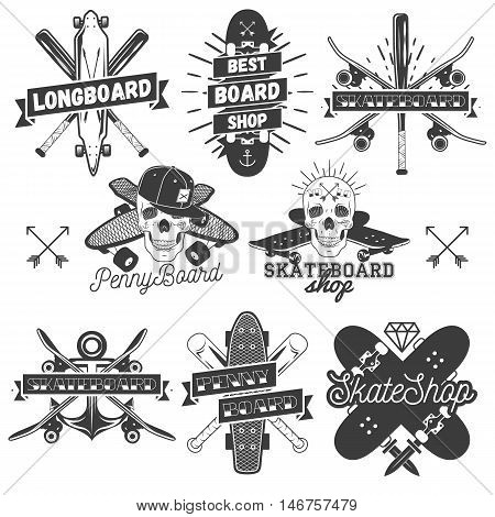 Vector set of monochrome skateboard, longboard, pennyboard labels. Isolated badges, emblems, logos, stickers in vintage style