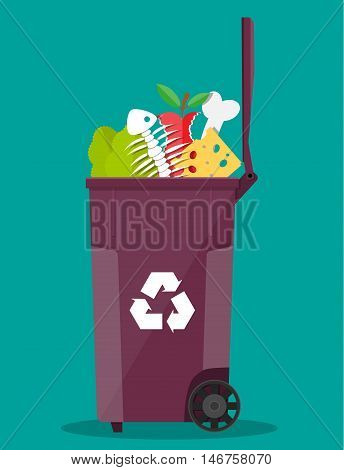 food waste garbage bin container full of junk food. salad, fishbone, bone, apple, cheese. vector illustration in flat style