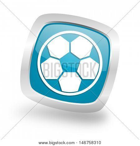 soccer square glossy chrome silver metallic web icon