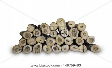 wood log stacked for firewood isolated with clipping path