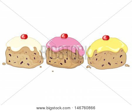 an illustration of three iced buns with cherry decoration and pink white and yellow frosting on a white background