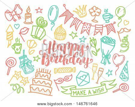 Colorful happy birthday party lettering and doodle set, vector illustration isolated on white background. Funny set of birthday party doodle objects, greeting card, coloring page