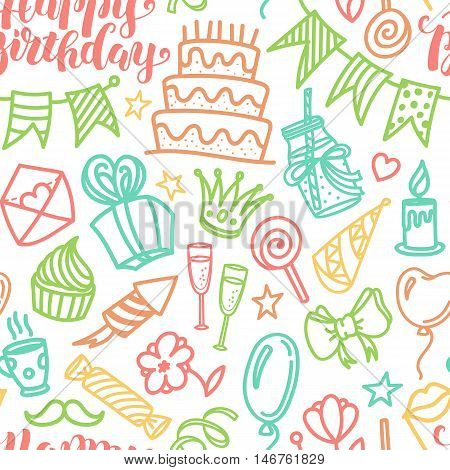 Happy birthday lettering and doodle seamless pattern, vector illustration on white background. Funny pattern with birthday party doodle objects, cute design for wrapping paper, textile, greeting cards