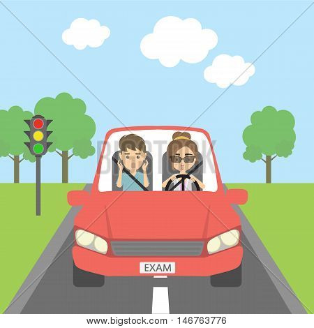 Driving exam frightening. Male instructor and female learner are scared. Funny cartoon situation. Riding on the city street.