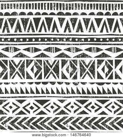 Hand drawn ethnic pattern. Geometric background in grunge style. EPS10 vector illustration. Contains no transparency and blending modes.