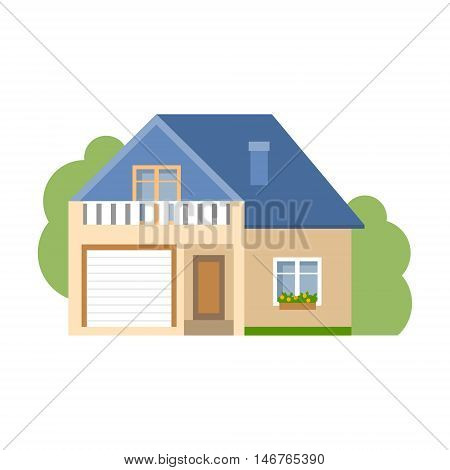 Isolated cartoon house. Simple suburban house with garage. Concept of real estate, property and ownership.