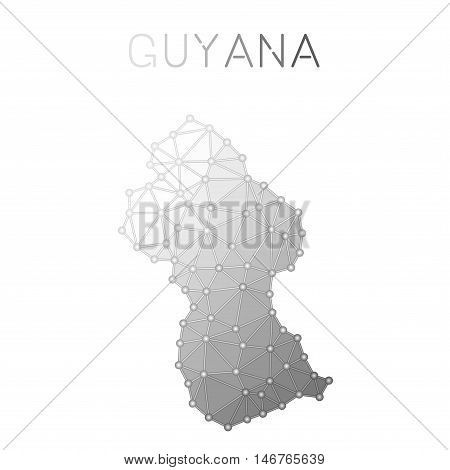 Guyana Polygonal Vector Map. Molecular Structure Country Map Design. Network Connections Polygonal G