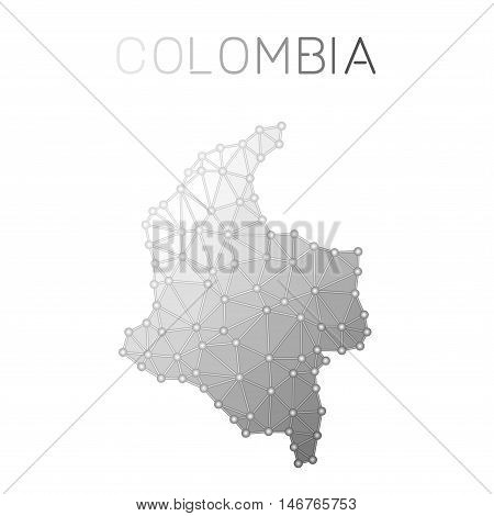 Colombia Polygonal Vector Map. Molecular Structure Country Map Design. Network Connections Polygonal
