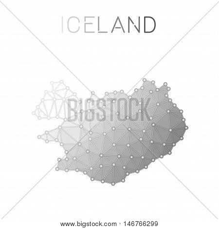 Iceland Polygonal Vector Map. Molecular Structure Country Map Design. Network Connections Polygonal