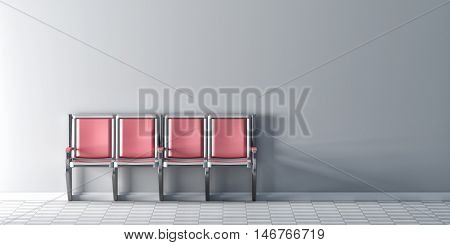 Four Pink Chairs In Row On White Wall