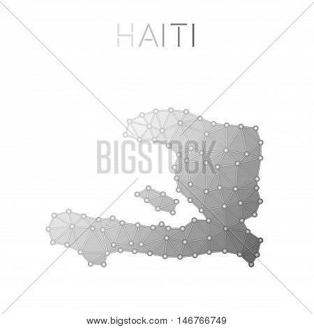 Haiti Polygonal Vector Map. Molecular Structure Country Map Design. Network Connections Polygonal Ha
