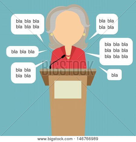 Blah blah politician. Concept of lie on debates or president election. Blank template face with speech bubbles. Female speaker.
