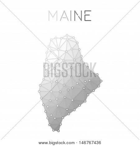 Maine Polygonal Vector Map. Molecular Structure Us State Map Design. Network Connections Polygonal M
