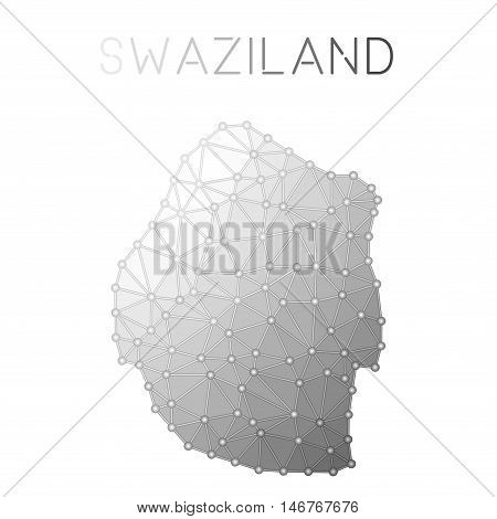 Swaziland Polygonal Vector Map. Molecular Structure Country Map Design. Network Connections Polygona