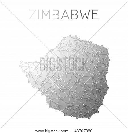 Zimbabwe Polygonal Vector Map. Molecular Structure Country Map Design. Network Connections Polygonal