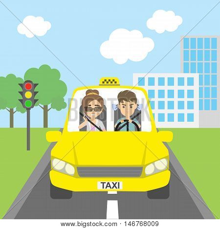 Woman taxi driver with passenger. Riding on the city street. Yellow car for urban service. Angry male driver and talking female passenger. Woman talking over the telephone.