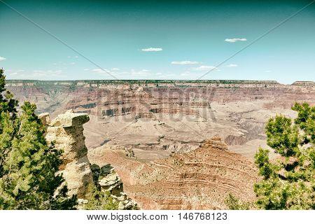 Grand Canyon view and blue sky , Arizona USA