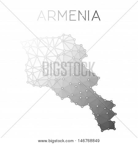 Armenia Polygonal Vector Map. Molecular Structure Country Map Design. Network Connections Polygonal