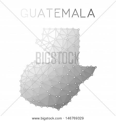 Guatemala Polygonal Vector Map. Molecular Structure Country Map Design. Network Connections Polygona