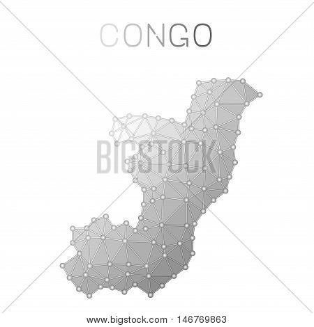 Congo Polygonal Vector Map. Molecular Structure Country Map Design. Network Connections Polygonal Co