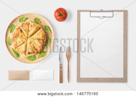 Design Concept Of Mockup Pizza And Clip Board Set Isolated On White Background. Clipping Path Includ