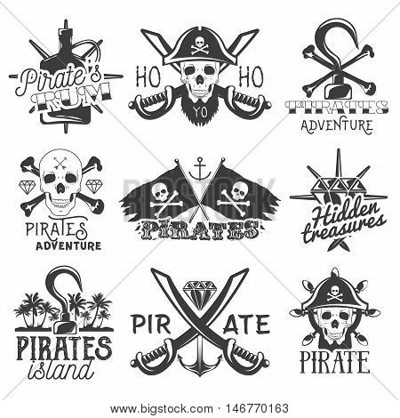 Vector set of pirates logos, emblems, badges, labels or banners. Isolated vintage style illustrations, monochrome flags with skulls, swords, rum, hook and treasure