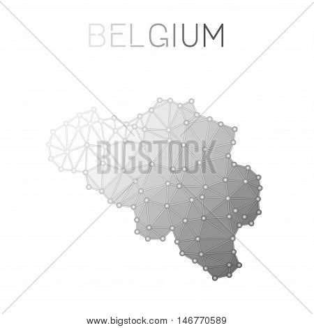 Belgium Polygonal Vector Map. Molecular Structure Country Map Design. Network Connections Polygonal