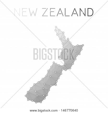 New Zealand Polygonal Vector Map. Molecular Structure Country Map Design. Network Connections Polygo