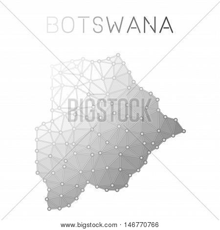 Botswana Polygonal Vector Map. Molecular Structure Country Map Design. Network Connections Polygonal