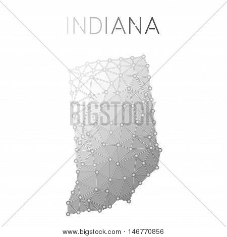 Indiana Polygonal Vector Map. Molecular Structure Us State Map Design. Network Connections Polygonal