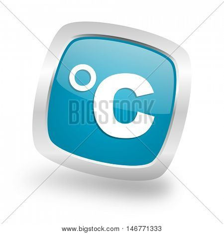 celsius square glossy chrome silver metallic web icon