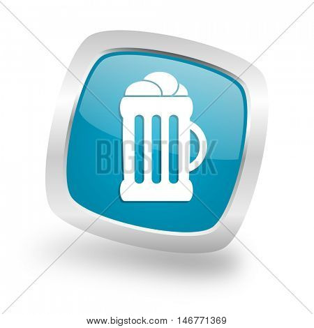 beer square glossy chrome silver metallic web icon