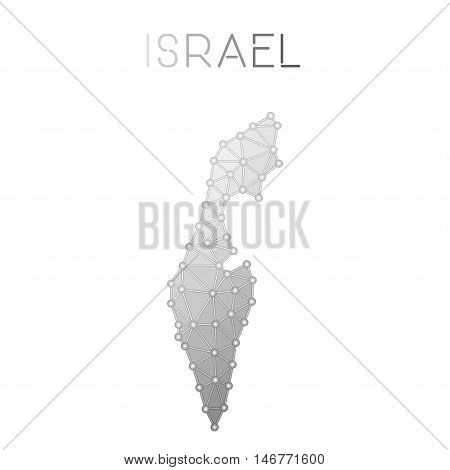 Israel Polygonal Vector Map. Molecular Structure Country Map Design. Network Connections Polygonal I