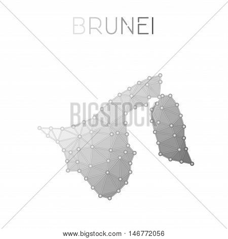Brunei Darussalam Polygonal Vector Map. Molecular Structure Country Map Design. Network Connections