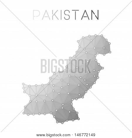 Pakistan Polygonal Vector Map. Molecular Structure Country Map Design. Network Connections Polygonal