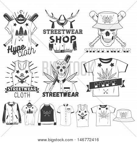 Vector set of streetwear shop logos, emblems, badges or labels. Isolated vintage illustrations with skulls, t-shirts, sweatshirts, bomber jacket, hats and bats
