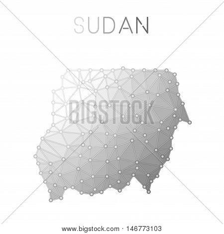 Sudan Polygonal Vector Map. Molecular Structure Country Map Design. Network Connections Polygonal Su