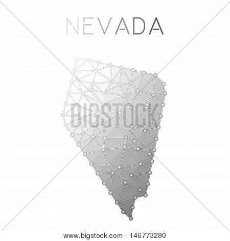 Nevada Polygonal Vector Map. Molecular Structure Us State Map Design. Network Connections Polygonal