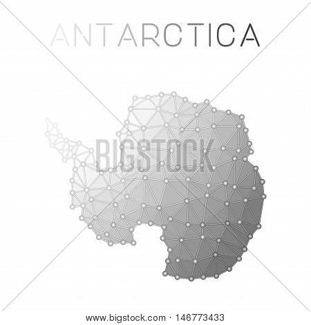 Antarctica Polygonal Vector Map. Molecular Structure Country Map Design. Network Connections Polygon