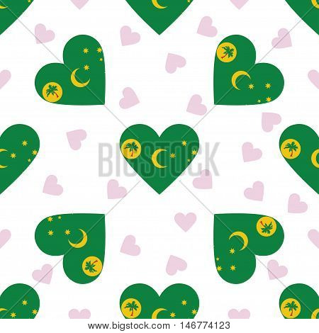 Cocos (keeling) Islands Independence Day Seamless Pattern. Patriotic Background With Country Nationa