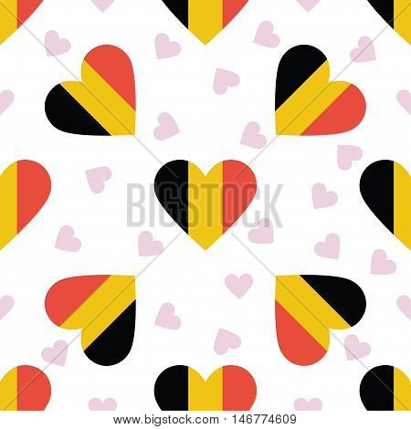 Belgium Independence Day Seamless Pattern. Patriotic Background With Country National Flag In The Sh