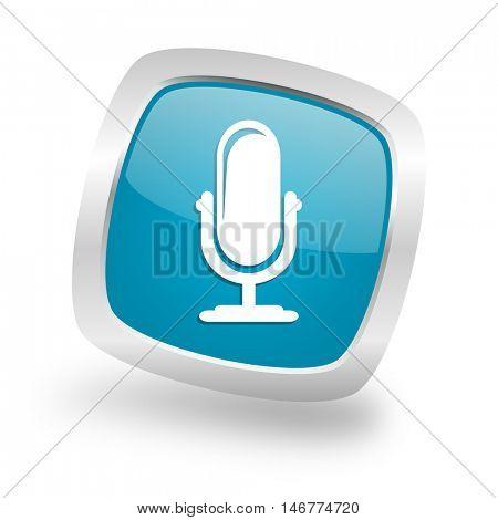 microphone square glossy chrome silver metallic web icon