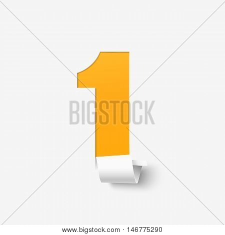 Number one isolated on white. Abstract vector illustration.