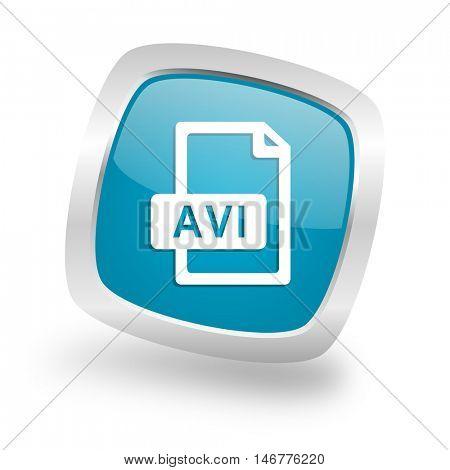 avi file square glossy chrome silver metallic web icon