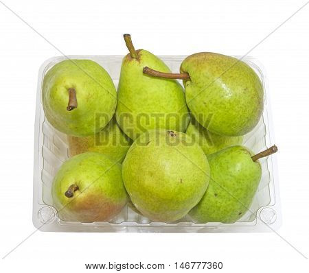 Basket with freshly picked Bartlett Pears on a white background