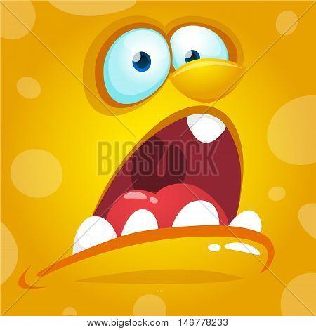 Cartoon monster face. Vector Halloween yellow screaming monster avatar