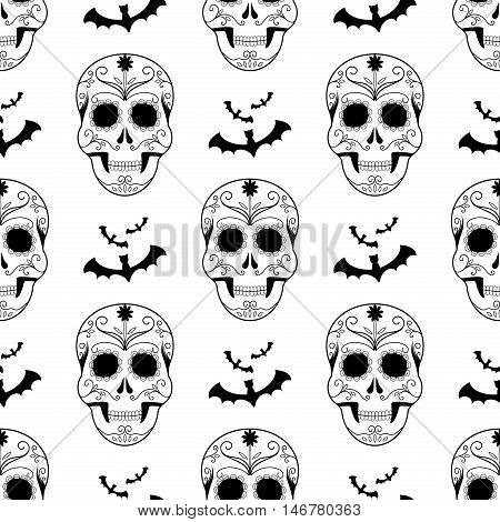Halloween seamless pattern decoration ghost. Scary wallpaper horror design halloween seamless pattern spooky vector skulls silhouette. Holiday october scary halloween seamless pattern fear skulls.