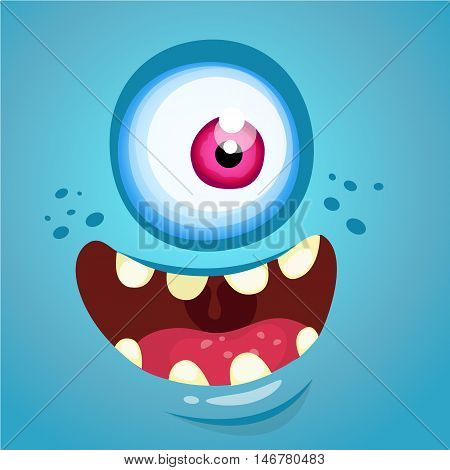 Cartoon monster face. Vector Halloween blue monster with one eye