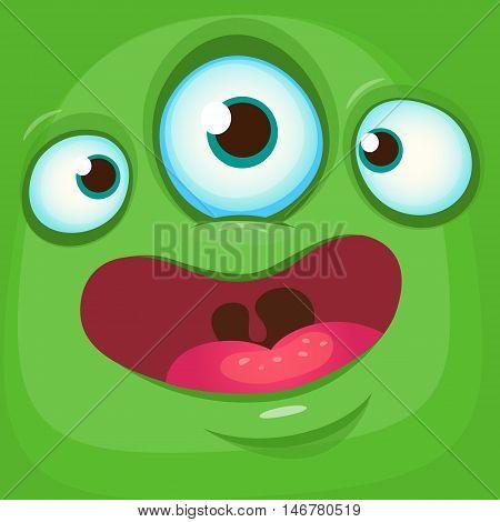 Cartoon monster face. Vector Halloween green monster avatar with three eyes smile